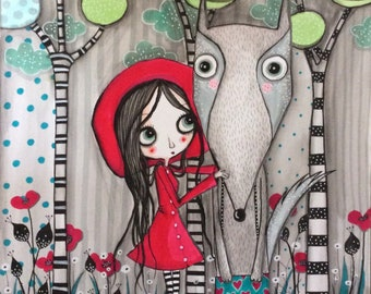 Painting the Red Riding Hood and Wolf