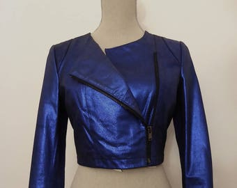 Vintage Leather Cropped Biker Jacket, Small, Electric Blue Leather, 90s