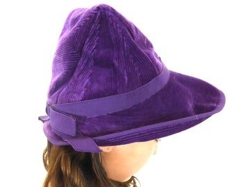 Unique 1970s French Corduroy Hat, Purple, Ultra Violet, Velvet, Cloche Hat, Handmade Hat, Hippy Accessories, Hippie Accessories, Vintage Hat