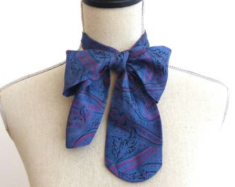 Vintage Bow Tie, Over Size Bow, Paisley, Tie, Vintage Tie, Pussycat Bow, Women's Silk Accessories, Blue Tie, Hippy Accessories, Hippie Tie