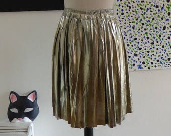 Pleated Gold Lamé Skirt, Skater Skirt, Party Disco Outfit, Stretch Lame Fabric, Metallic finish