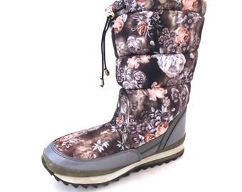 Bottes de neige, bottes d hiver Vintage, bottes matelassées, bottes de  pluie, bottes chaudes, Moon Boot, bottes matelassés, Rose imprimé,  chaussures ... 32ca9fec5381