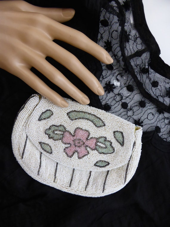 Vintage 1930s beaded evening purse, vintage beade… - image 7