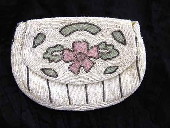 Vintage 1930s beaded evening purse, vintage beade… - image 6