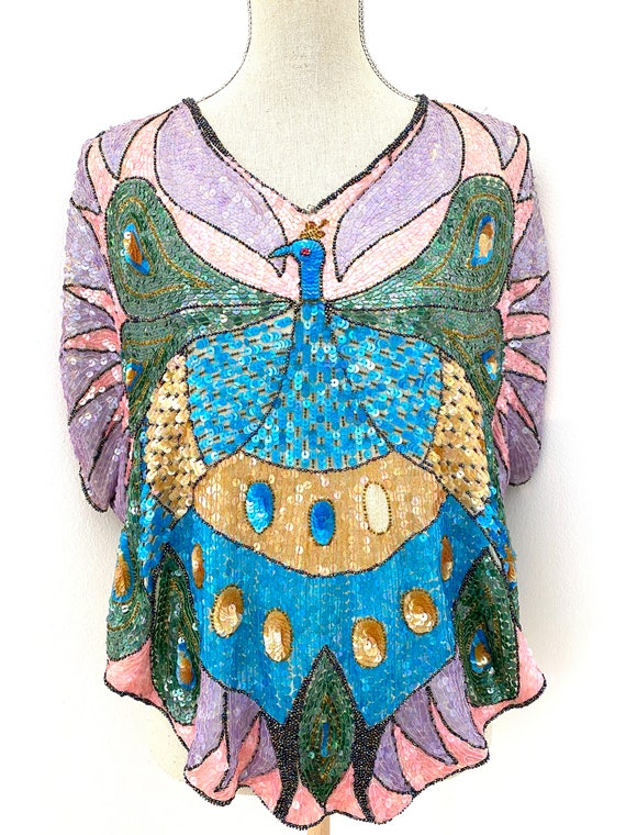 Vintage 80s Sequin Top, Peacock Sequin Top, Sequi… - image 2