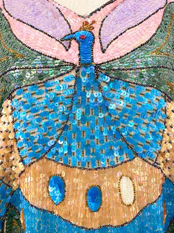 Vintage 80s Sequin Top, Peacock Sequin Top, Sequi… - image 4