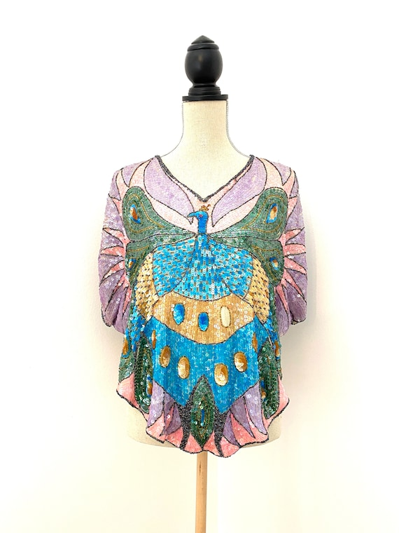 Vintage 80s Sequin Top, Peacock Sequin Top, Sequin
