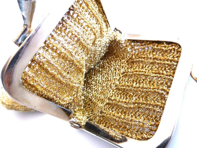 Handmade Purse Miniature Purse Keepsake Gold Purse Vintage Knit Evening Purse Coin Purse Metallic Lurex Evening Bag Knitted Purse