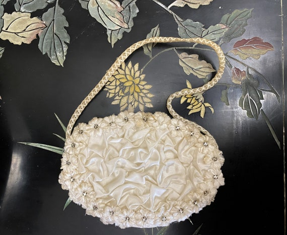 Antique satin evening purse, ivory satin ruched pu