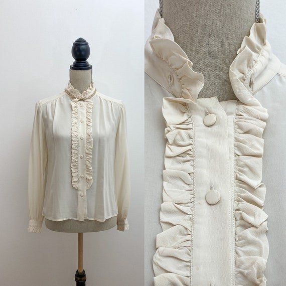 Vintage ruffle neck blouse, ivory silk   Blouse si