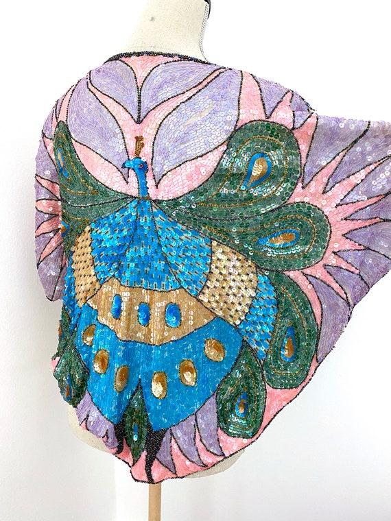 Vintage 80s Sequin Top, Peacock Sequin Top, Sequi… - image 8