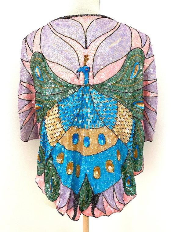 Vintage 80s Sequin Top, Peacock Sequin Top, Sequi… - image 3