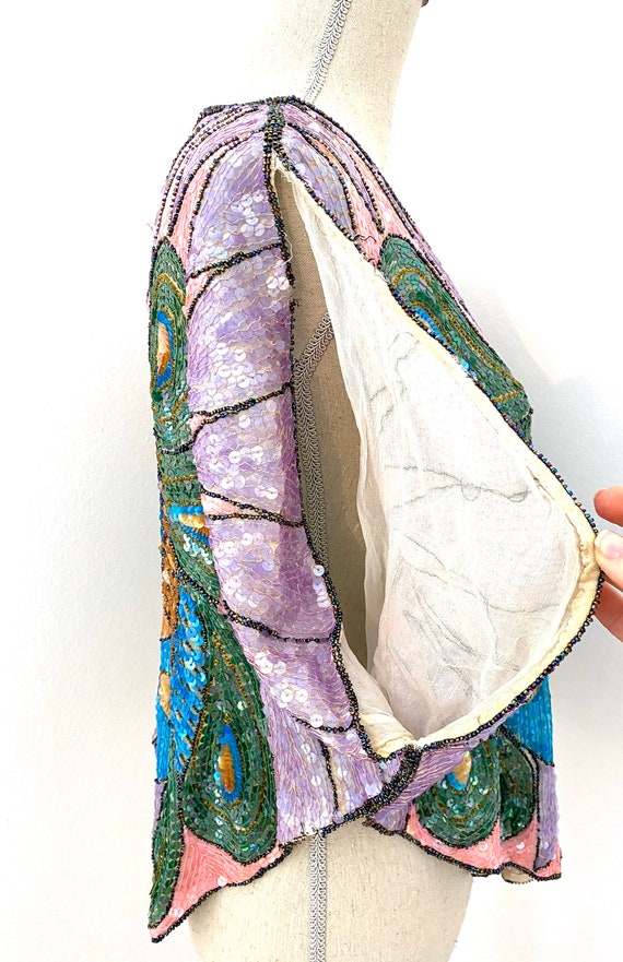 Vintage 80s Sequin Top, Peacock Sequin Top, Sequi… - image 7
