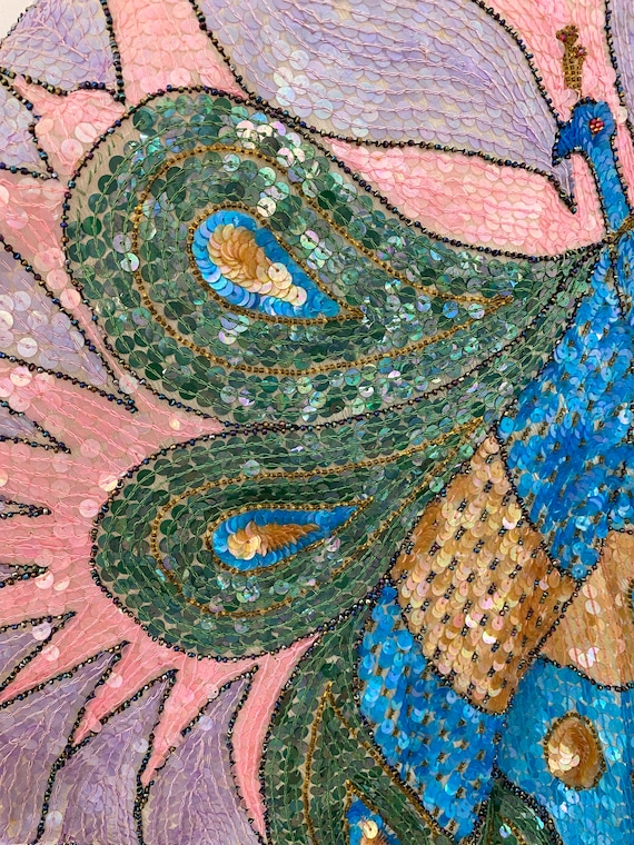 Vintage 80s Sequin Top, Peacock Sequin Top, Sequi… - image 10