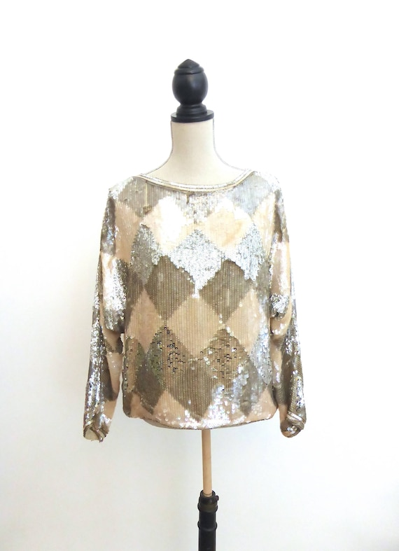 Vintage Sequin Top, Harlequin Sparkly Top, Batwing