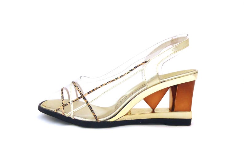 Gold Shoes Vintage Slingback 80s Sling backs Heeled Sandals Vintage high heels Party Shoes Vintage wedge Statement Heels