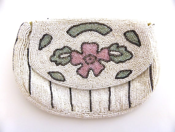 Vintage 1930s beaded evening purse, vintage beade… - image 1