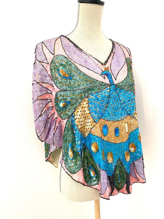Vintage 80s Sequin Top, Peacock Sequin Top, Sequi… - image 6