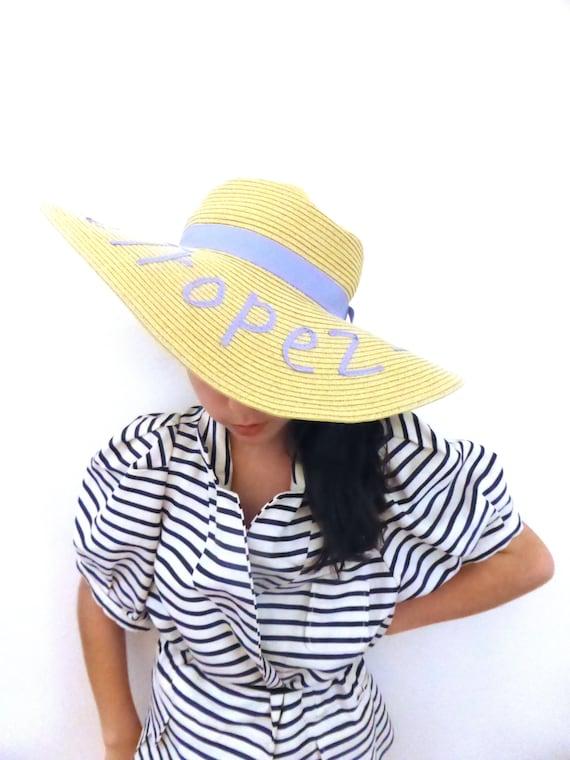 Vintage 'St Tropez' wide brim straw hat, floppy su
