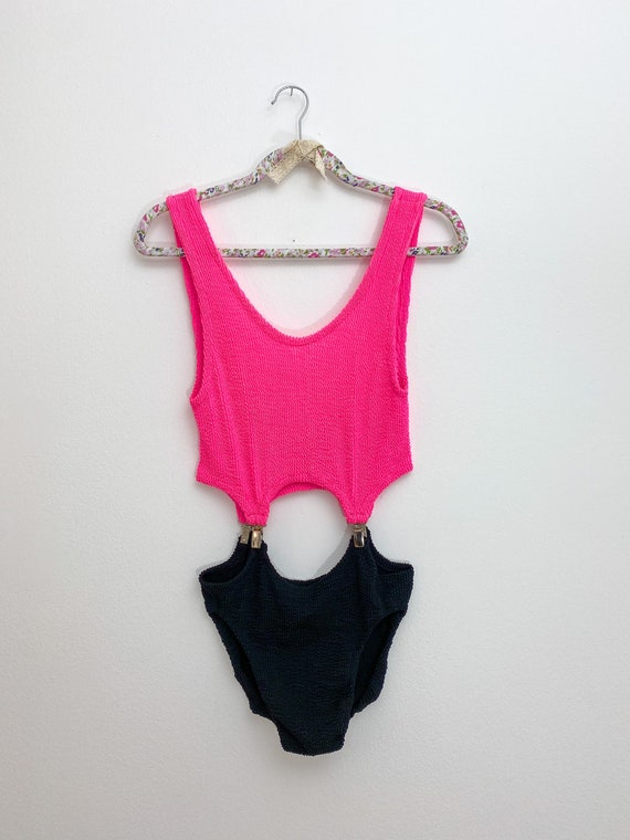 80s swimsuit, fluorescent pink swimsuit, novelty o