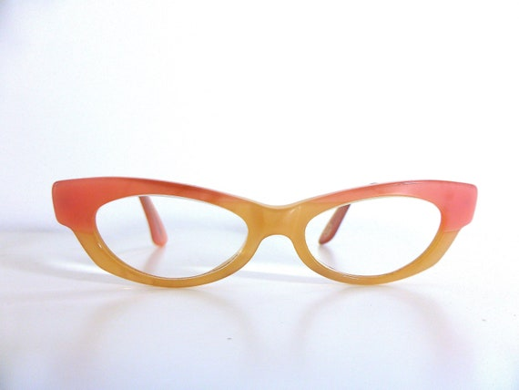 Vintage glasses narrow eye glasses, cats eye glass