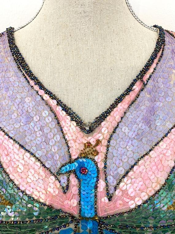 Vintage 80s Sequin Top, Peacock Sequin Top, Sequi… - image 5