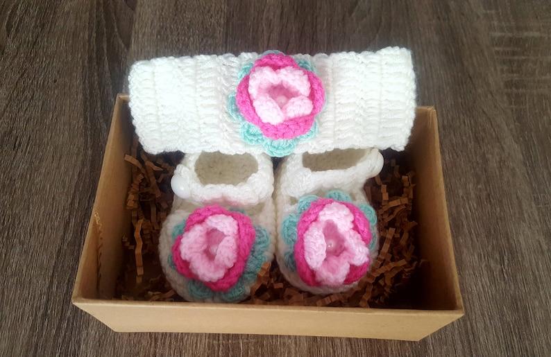 Hand Crocheted Baby Booty Headband Set with Gift box FREE SHIPPING