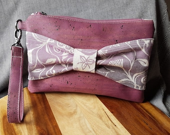 Floral Bow Clutch Wristlet - purple cork leather and wrap scrap