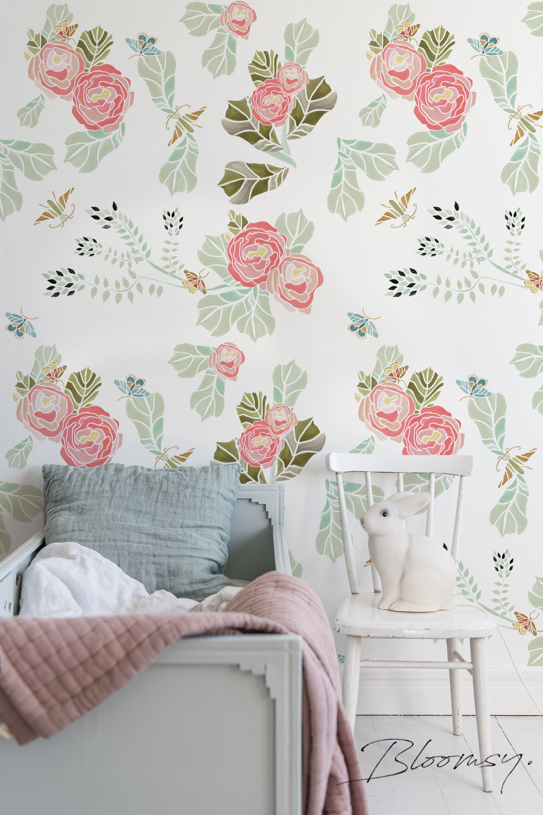 Removable Wallpaper Pastel Flowers With Butterflies Etsy