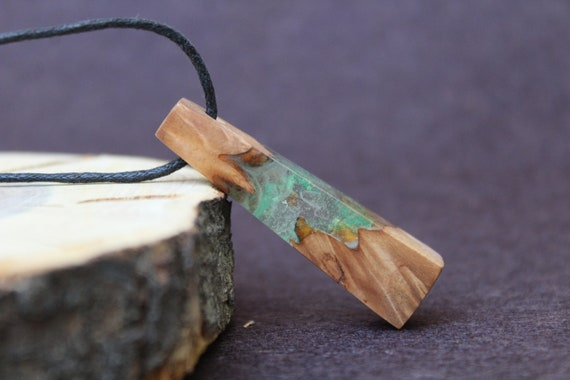Borealis Aurora Wood and resin Wood resin necklace Northern lights Resin necklace Green Resin Necklace Ocean pendant Wood resin
