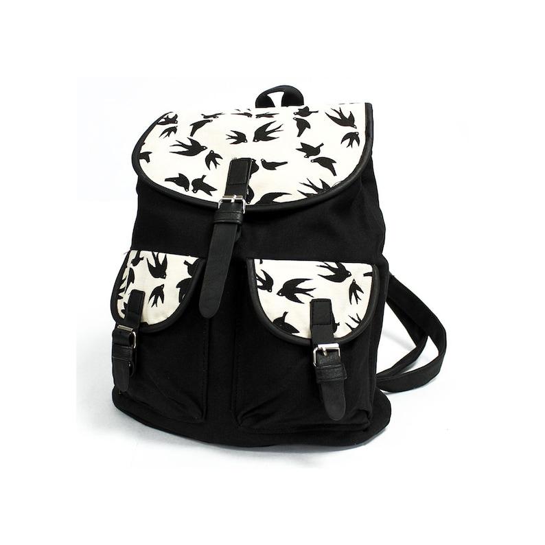 Black Swallows Back to school Handmade College Backpack Rucksack Adventure Pack Backpack for school Pink Boho style Backpack