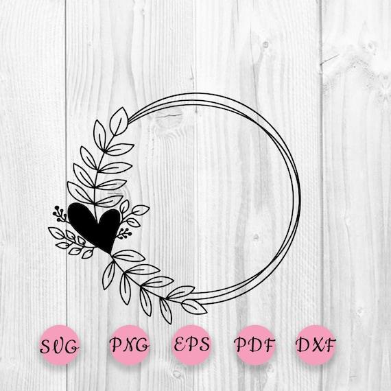 Wreath SVG Silhouette cut file Leaf border svg Floral wreath clipart Heart Laurel Svg Cut File Leafy Wreath SVG Wedding monogram svg