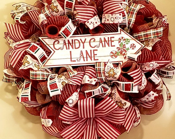 Candy Cane Lane Wreath Christmas Wreath Candy Cane Wreath Holiday Wreath