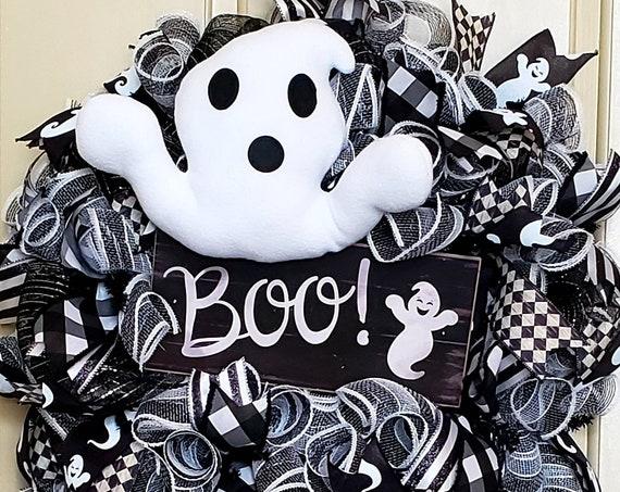 Boo! Ghost Wreath Halloween Wreath Ghost Door Decor Boo! Door Decor Black and White Wreath