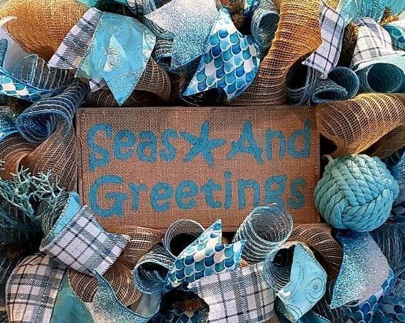 Seas and Greetings / Seasons Greetings Christmas Wreath Coastal Christmas Wreath Beach Christmas Wreath