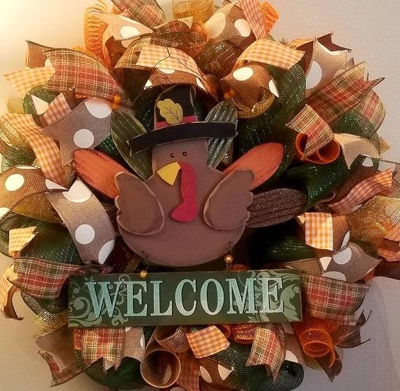 Turkey Wreath Welcome Wreath Thanksgiving Day Wreath Thanksgiving Welcome Wreath