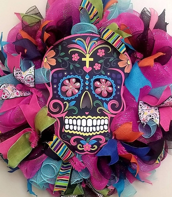 Sugar Skull Wreath - Day of the Dead Wreath - Día de Muertos - Halloween Wreath - Day of the Dead Decor - Halloween Decoration - Door Wreath