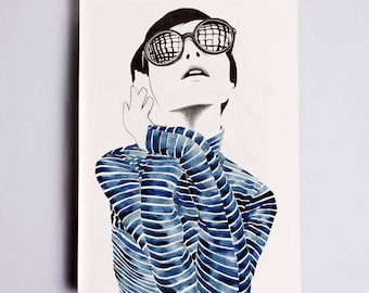 Carolina Fashion Illustration Print, Fashion Sketch, Fashion Art, Fashion Poster, Fashion Watercolour, Fashion Wall Art, Fashion Drawing