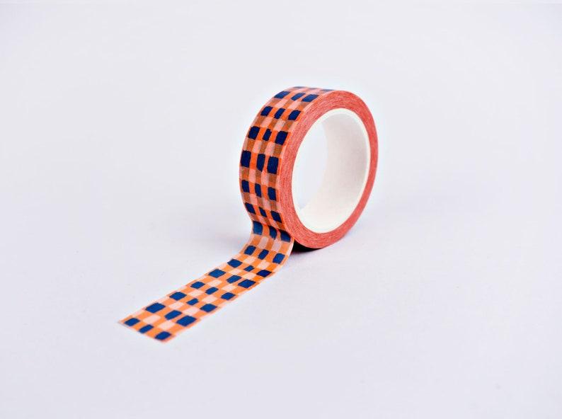 Orange Brush Check Washi Tape