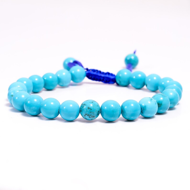 Yoga Bracelet Turquoise Bracelet Healing Bracelet Gemstone Bracelet Tibetan Turquoise Round Smooth Beads 8 mm Thread Bracelet