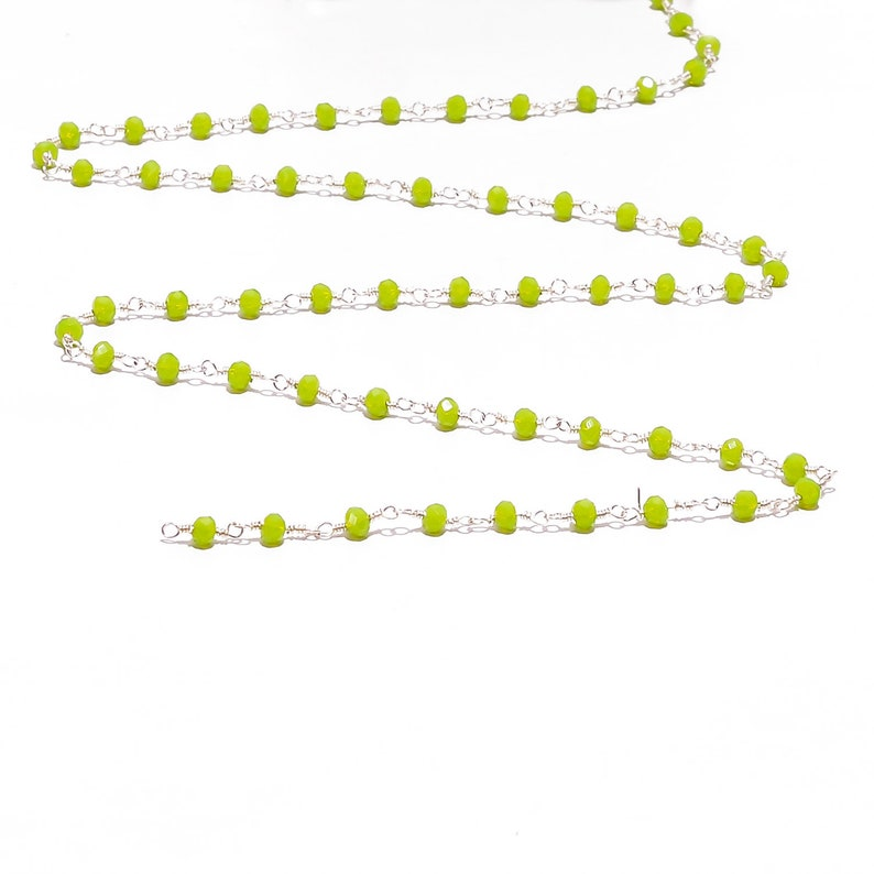 1-100 Feet Peru Green Onyx Faceted Rondelle Hydro Beaded Rosary Chain Silver Plated Wire,Jewelry Making,Finding,Wire Wrapped Chain,3-3.5mm
