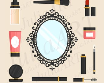 vintage mirror with accessories makeup