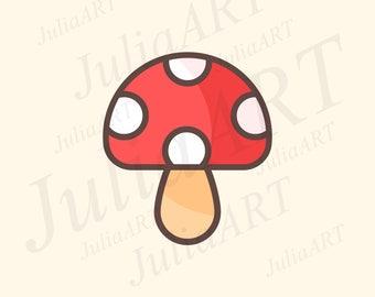 cartoon cute amanita mushroom vector image