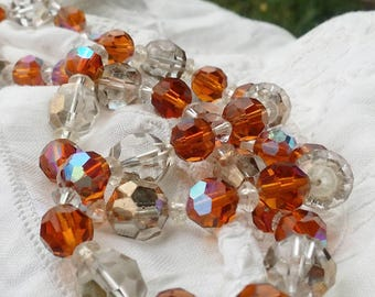 Rare Amber Aurora Borealis Clear Aurora Borealis Crystal Glass Faceted Beads Vintage Necklace - 1950 - Prom -Every Day - Business Attire