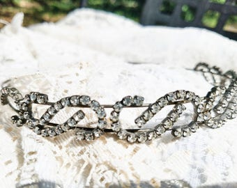 Glass Rhinestone Head Band From the 90s - Great Wedding Addition!