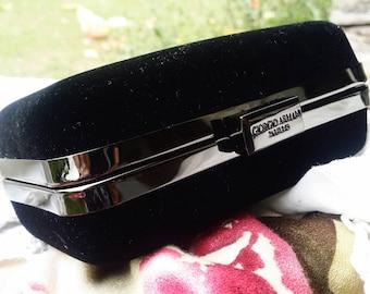 Giorgio Armani Black Velvet Evening Bag Trunk Box Purse Handbag with  Elegant Gold Metal Trim - 1990 - Great Vintage Find 81755ad26e