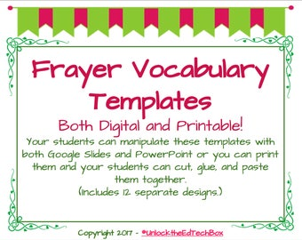 Digital 12 Interactive Digital Vocabulary Frayer Model Templates also 12 Printable Versions
