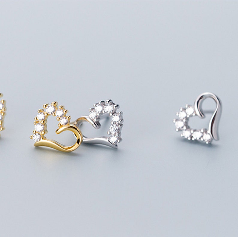 Sterling Silver Cubic Zircon Tiny Heart Stud Earrings Micro Pave Earrings Delicate Stud Minimal Stud 2 Colors YCZ49 Dainty Earrings