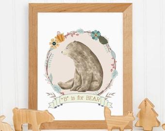 Bear Nursery Print, Printable Art, Baby Shower Gift, Nursery Decor, Watercolor Print, Bear Print, Wall Art Print