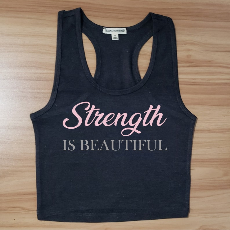 Charcoal Strength is Beautiful Cropped Racerback image 0